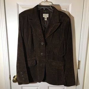 St. John's Bay Brown Suede Leather Blazer Size XL